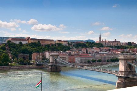 buda: The Chain Bridge over the River Danube in Budapest Hungary
