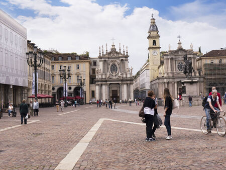 The Piazza San Carlos in Turin Italy with the twin Churches of San Carlos and Santa Cristina