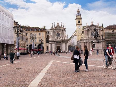 carlos: The Piazza San Carlos in Turin Italy with the twin Churches of San Carlos and Santa Cristina