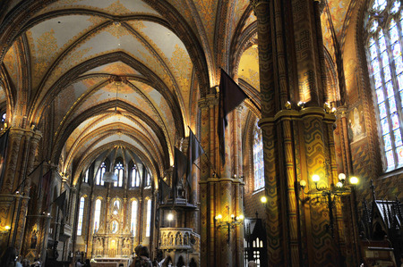 lavish: The lavish highly decorated interior of St Matthias Cathedral in Budapest where all the Kings of Hungary have been crowned