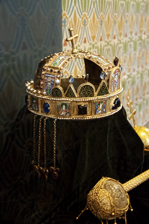 sissy: Replica of the Hungarian Crown jewels in the Coronation Cathedral of St Matthias Budapest Hungary