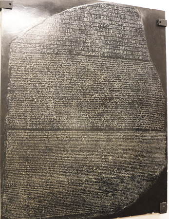 Copy of the Rosetta Stone in the  Egyptian Museum in Turin, Italy