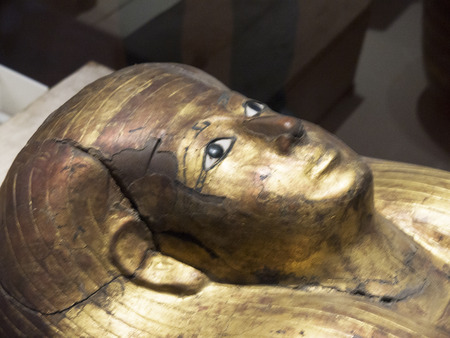 Mummy Case in the Egyptian Museum in Turin, Italy
