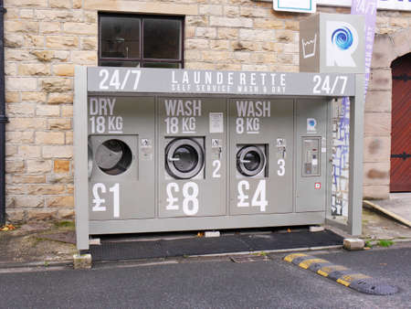 drive through: Drive through launderette in Brierfield Nelson Lancashire