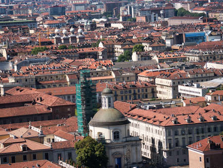view of the city from the Mole in Turin Italy