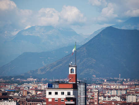 risorgimento: View of the city from the top of the Mole of Turin Italy