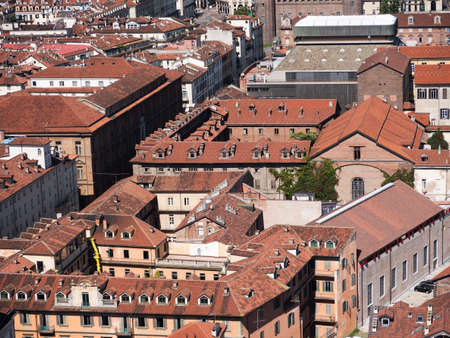 View of the city from the top of the Mole of Turin Italy