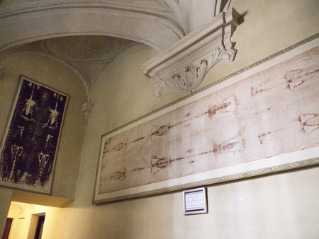 Photographic copy of the Shroud of Turin. The real one is shown every 20 years