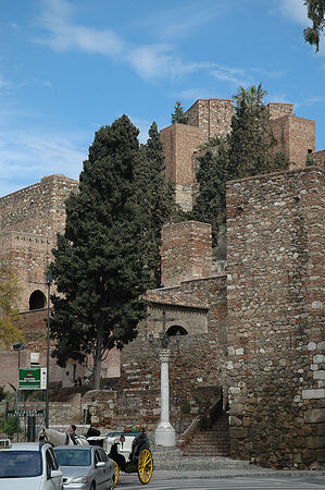 defended: Entrance to the Alcazabar in Malaga Spain.Originally, the Alcazaba defended the city from the incursions of pirates. Editorial