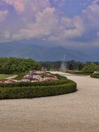 reale: The gardens at the Venaria Reale or the Reggia a royal hunting lodge on the outskirts  of Turin Italy Editorial