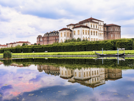 The gardens at the Venaria Reale or the Reggia a royal hunting lodge on the outskirts  of Turin Italy