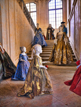 reale: Costumes at The Venaria Reale or the Reggia a royal hunting lodge on the outskirts  of Turin Italy Editorial