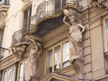 streetlife: Architectural Detail on building in Turin Italy Editorial