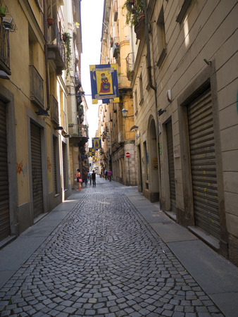 streetlife: The old city of narrow streets in Turin Italy