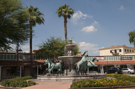 Four Horses Fountain in Scottsdale near Phoenix Arizona USA