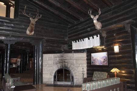 stone fireplace: Hunting Lodge at Grand Canyon in Arizona USA