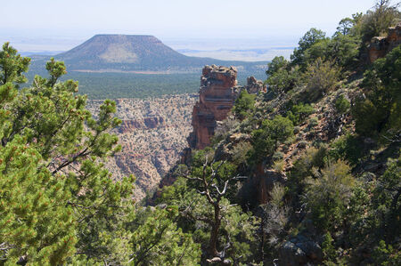 watchtower: Cedar Mountain from the Desert View Watchtower at the Grand Canyon Arizona USA