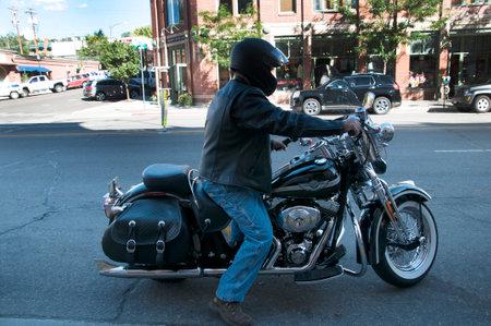 main street: Motorcycle on the Main Street of Durango Colorado USA