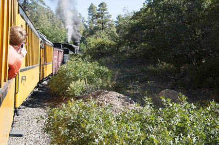 narrow gauge railway: Travelling on the Durango to Silverton Narrow Gauge Railway Colorado USA Editorial