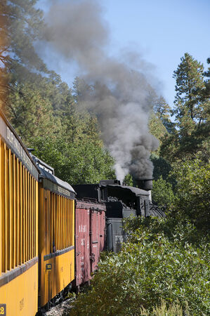narrow gauge: The Narrow Gauge Railway between Durango and Silverton in Colorado USA