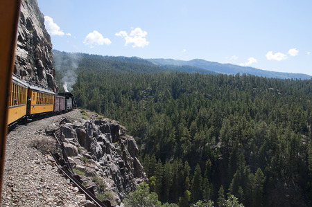 narrow gauge: Travelling  on the Durango to Silverton Narrow Gauge Railway Colorado USA Editorial