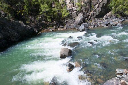 narrow gauge railways: The Animas River from the Durango to Silverton Railway in Colorado USA Stock Photo