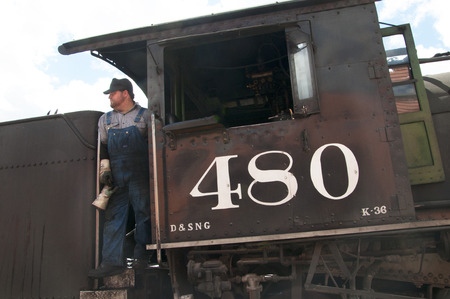 narrow gauge: Arriving in Silverton on the Durango to Silverton Narrow Gauge Railway in Colorado USA
