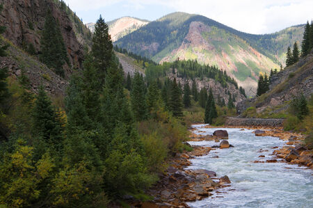 The Animas River from the Durango to Silverton Railway in Colorado USA Stock Photo