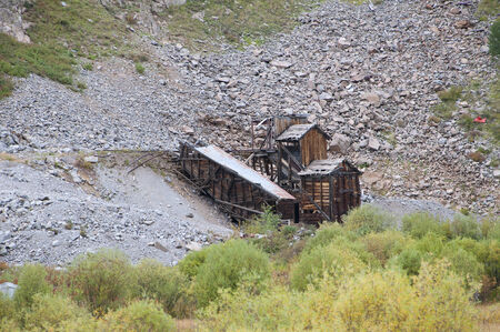 narrow gauge railway: Old Silver Mine seen from the Durango to Silverton Narrow Gauge Railway in Colorado USA Stock Photo