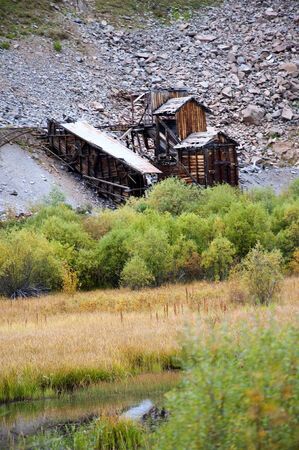 Old Silver Mine seen from the Durango to Silverton Narrow Gauge Railway in Colorado USA Reklamní fotografie