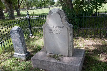 タオスの墓地場所の兵士のキット ・ カーソンの先駆者と米国ニュー メキシコの彼の子孫が埋葬されたと 報道画像