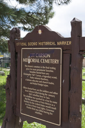 descendants: The Cemetery in Taos where Soldier and pioneer Kit Carson and his descendants are interred in New Mexico USA