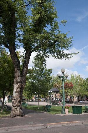 fe: Main Square in Santa Fe New Mexico USA Stock Photo