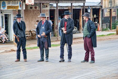 shootout: Actors inTombstone in Arizona where the Gunfight at the OK Corral was fought in the USA. It is called the Town too tough to die. Editorial