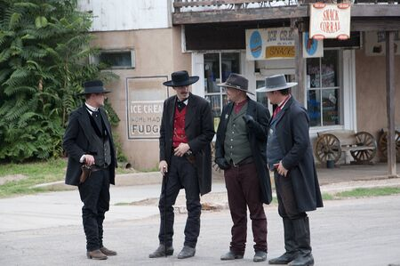 corral: Actors in Tombstone in Arizona where the Gunfight at the OK Corral was fought in the USA. It is called the Town too tough to die.