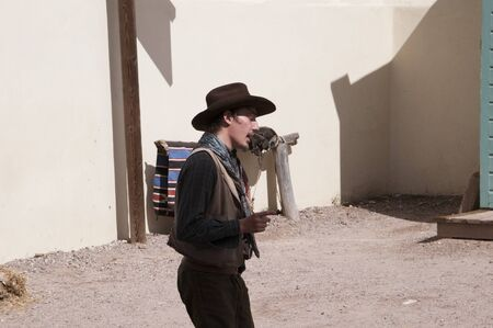 shootout: Actors in Tombstone in Arizona where the Gunfight at the OK Corral was fought in the USA. It is called the Town too tough to die.