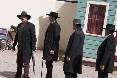 Actors in Tombstone in Arizona where the Gunfight at the OK Corral was fought in the USA. It is called the Town too tough to die.