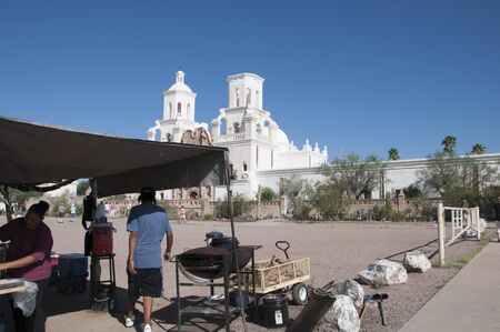 tucson: Mission San Xavier del Bac is a historic Spanish Catholic mission located about 10 miles south of Tucson, Arizona Editorial