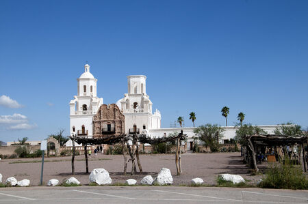 tucson: Mission San Xavier del Bac is a historic Spanish Catholic mission located about 10 miles south of Tucson, Arizona Stock Photo