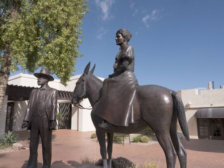 pioneers: Statue of Pioneers and founders of the Town of Scottsdale Arizona USA Editorial