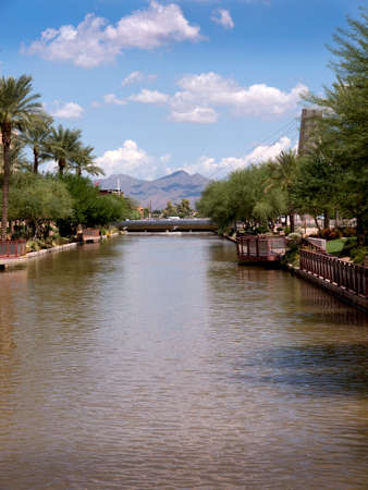 Looking down the River running  through Scottsdale Arizona USA Stock Photo