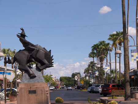 Rodeo Rider Statue in Old Town Scottsdale street in Arizona USA
