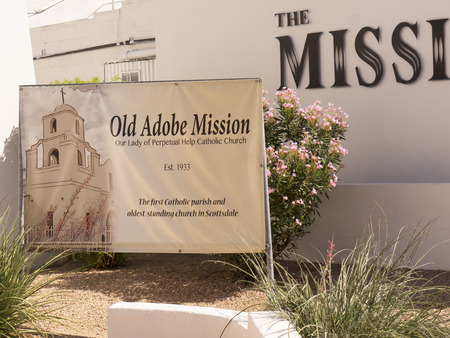 recently: Old Adobe Mission Church recently built in Scottsdale Arizona