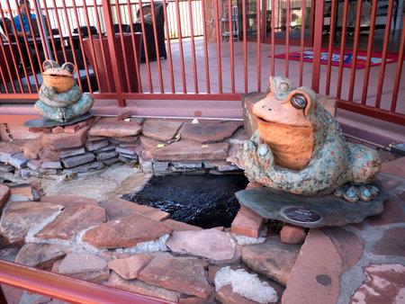 sedona: Frog Sculpture in the Shopping Mall in Sedona Arizona USA