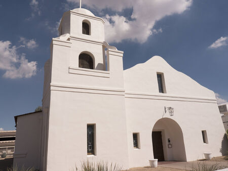 adobe: Old Adobe Spanish Mission style Church recently built in Scottsdale Arizona USA Stock Photo