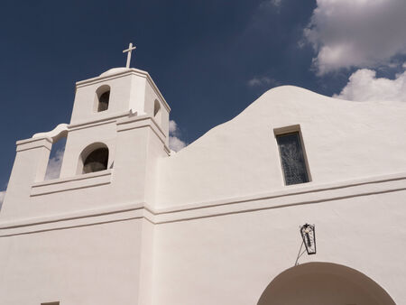 recently: Old Adobe Spanish Mission style Church recently built in Scottsdale Arizona USA Stock Photo