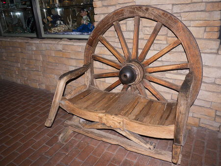 scottsdale: Seat made out of old wheel in Scottsdale Arizona USA