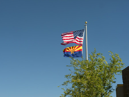 The Flags of Arizona State and of the USA at the Grand Canyon Фото со стока