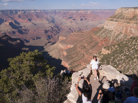 Sitting on the South Rim of the Grand Canyon in the USA