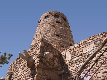 watchtower: Navajo Watchtower on the South Rim of the Grand Canyon in Arizona USA